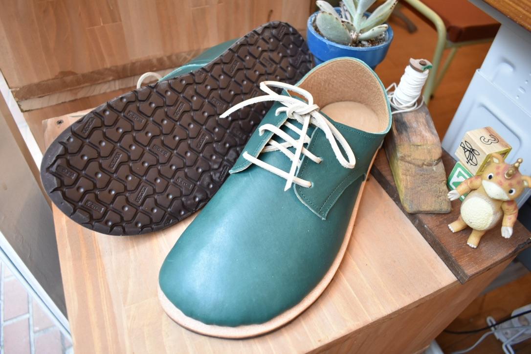 ふくろ縫いの外履き ひも靴 みどり