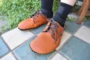 ◆ あたたかボア手縫いの外履き靴 ◆だいだい色