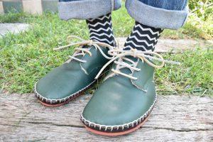 ◆ あたたかボア手縫いの外履き靴 ◆みどり