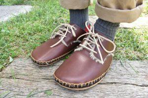 ◆ あたたかボア手縫いの外履き靴 ◆こげ茶